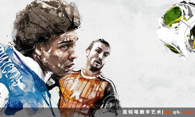 炒鸡棒的水彩风格足球插画
