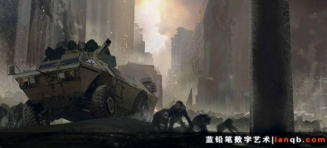 《猩球崛起2:黎明之战》原画