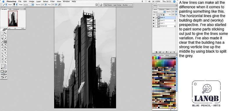 笔刷创作建筑物