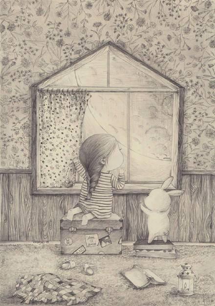 主角是一只肉嘟嘟的小兔子和一位很可爱的小萝莉女孩,很配搭的感觉有