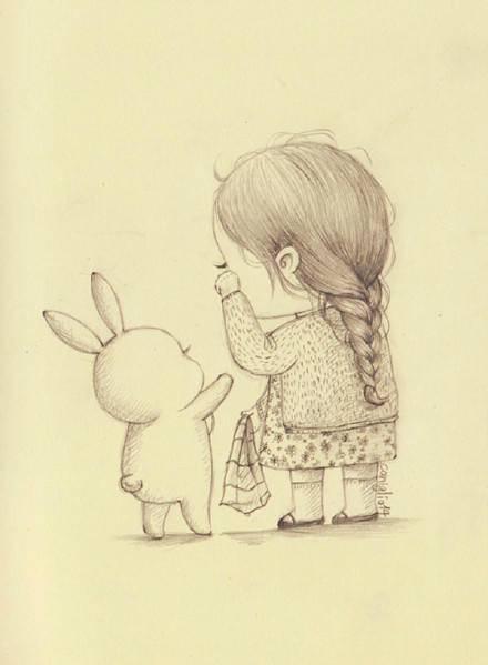 真的是超萌的治愈系手绘插画图片,主角是一只肉嘟嘟的小兔子和一位很