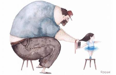 用插画描绘父女间最暖心的成长陪伴
