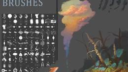 多种PS漫画笔触、铅笔、蜡笔、粉笔、颜料、CG笔触笔刷素材分享(附下载)-下