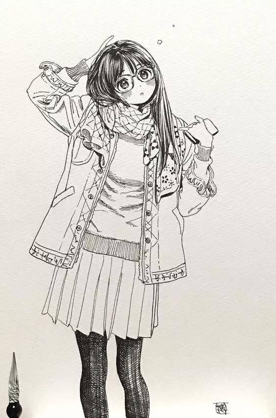 手绘少女眼镜黑白