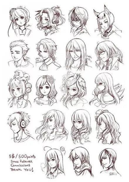 动漫男女生的常见发型画法: 女生长发,男生短发,男生平头,双马尾卷发