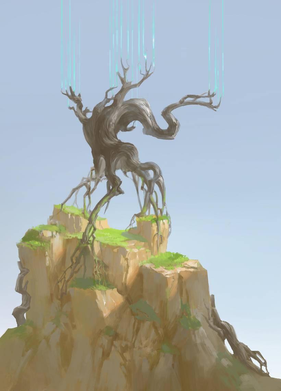 原创,绘画,石头,树木