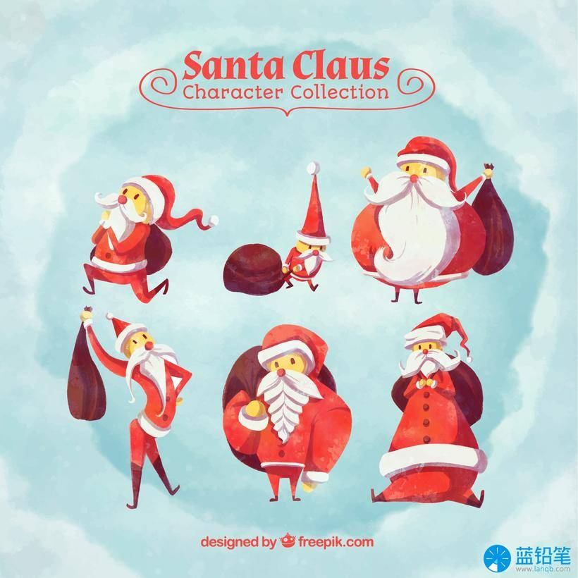 圣诞节水彩插画免抠图素材资源-ai eps源文件watercolor-collection