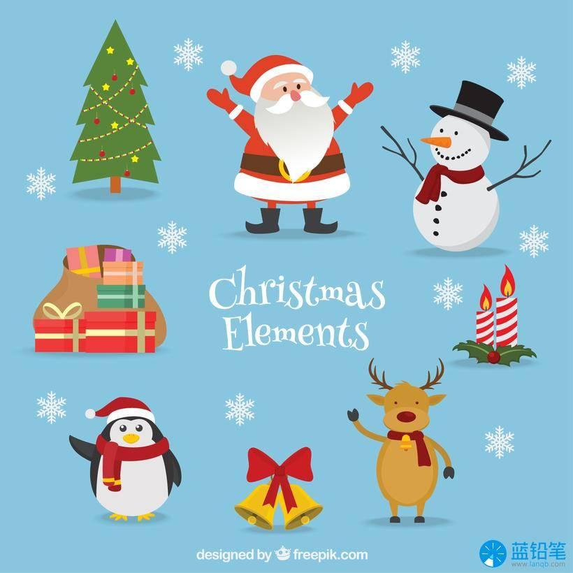 圣诞节免抠图素材资源-ai eps源文件pack-christmas-elements-with