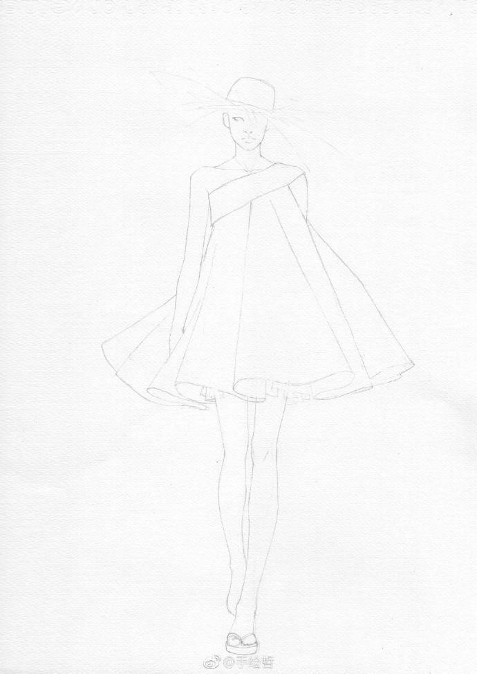 模特穿裙子画法简笔画