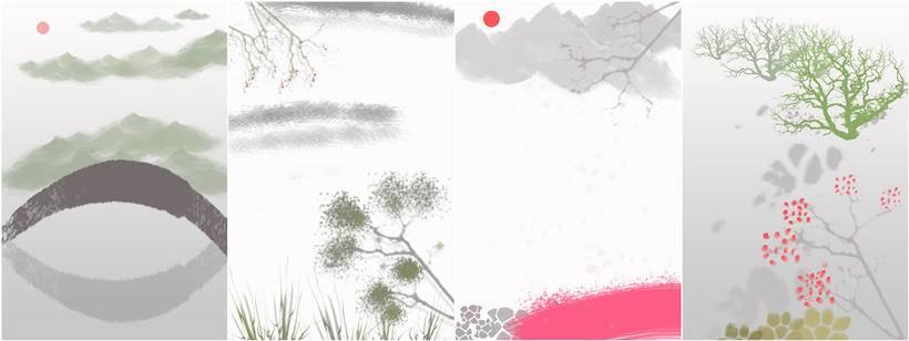 偏中国水墨风的古风插画作品,其实更注重画面的场景,人物只是点缀其中