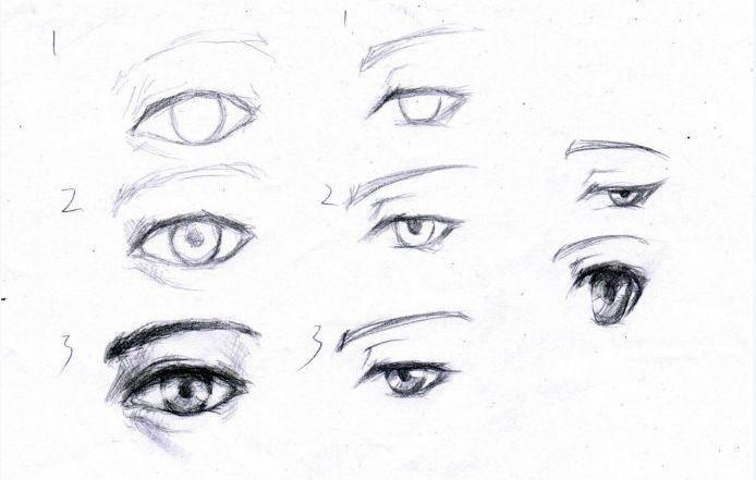 画素描眼睛,要先用轻一点的铅笔打形,起稿,确定眼睛与眉毛的轮廓关系