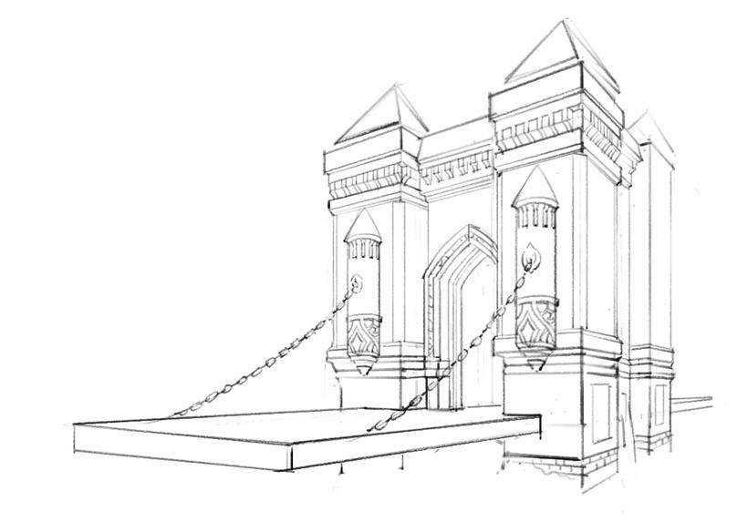 【场景原画】欧式建筑线稿绘制的透视网格应用