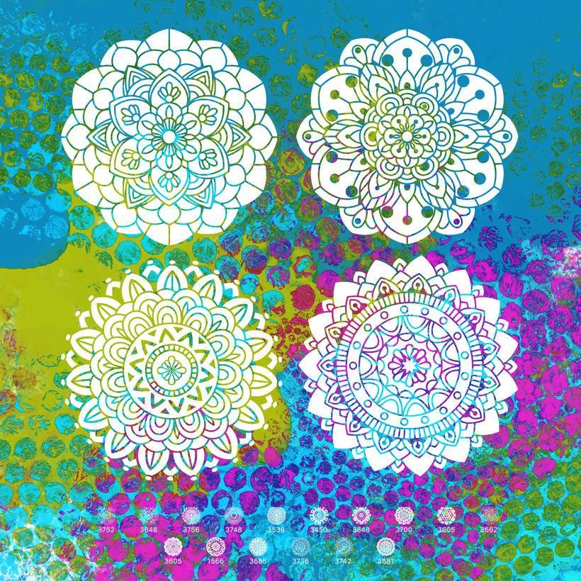 3,16种曼陀罗风格的印花花纹笔刷ps素材