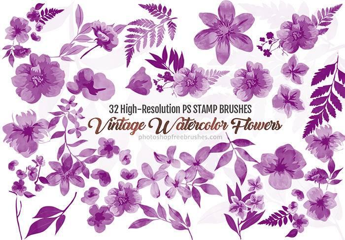 9,32水彩风格的鲜花花朵植物印花图案photoshop笔刷素材