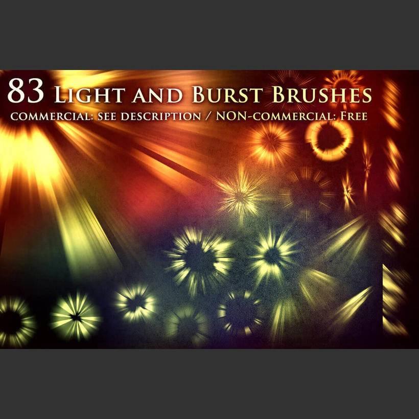 6,83种光耀,光斑,太阳光线,辐射, 太阳光束等光源光影特效ps笔刷素材
