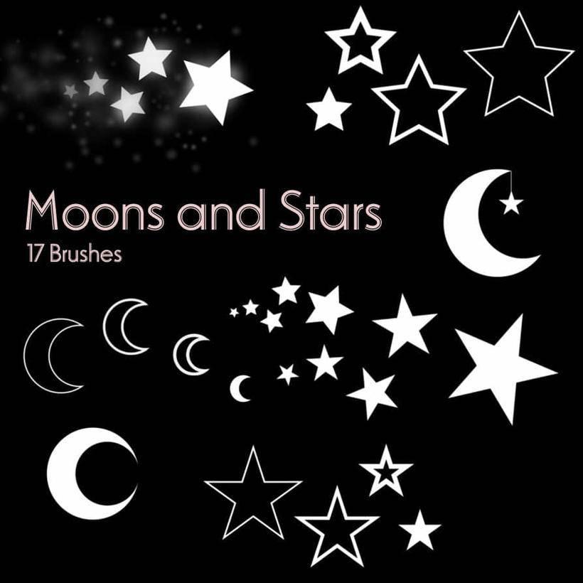 5,星星,五角星符号,月亮图形photoshop笔刷素材图片