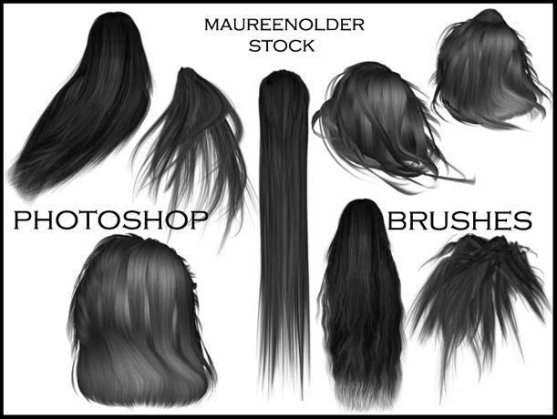 5,女士长发发型,头发造型,假发素材ps笔刷