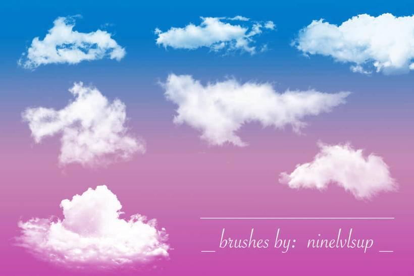 多种各式高清云朵,云彩,白云ps笔刷素材分享(附下载)