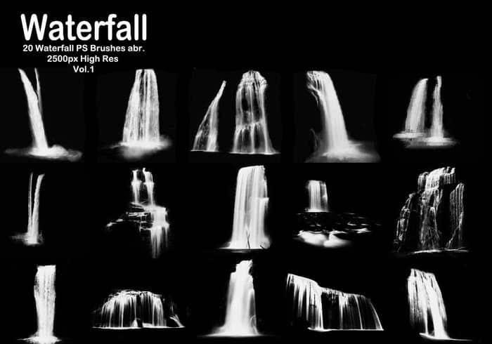 100余种水面波纹,液体,水花,水浪,雨水,海面纹理ps笔刷素材分享(附
