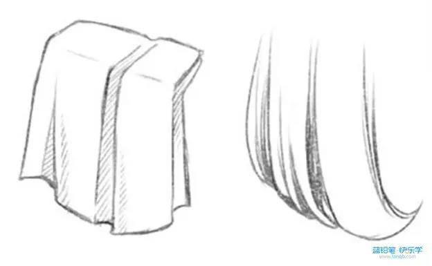 根据发簇的粗细前后不同,形成自然的发型(下图右).
