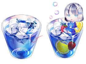 【翻译教程】水面漂浮物的画法(冰块、水果)_绘画教程