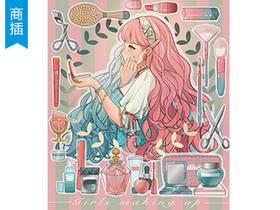 【商插教程】procreate长卷发少女及装饰小物上色过程_绘画教程