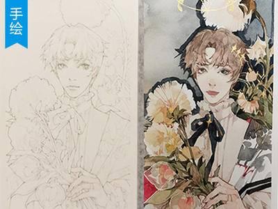 【手绘教程】高级灰花儿与少年水彩上色全过程 _一氧化碳jun
