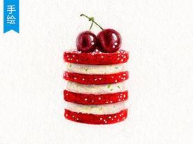 【手绘彩铅】小清新红丝绒樱桃蛋糕绘制教程 _绘画教程